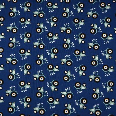 Jersey Trecker blau Stoff mit kleinen