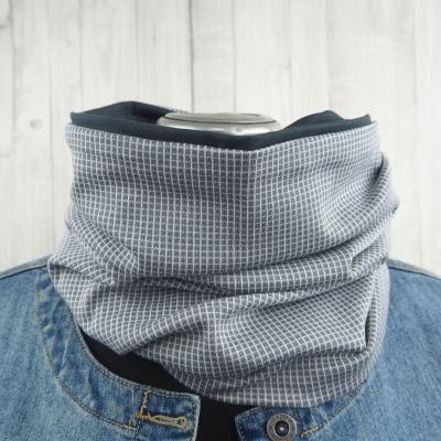Loop Männer Frauen grau Karo Schal