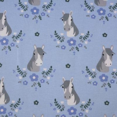 Jersey bedruckt mit Pferden hellblau Pferdeliebe
