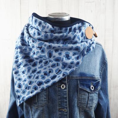 Wickelschal für Damen in blau Strickstoff