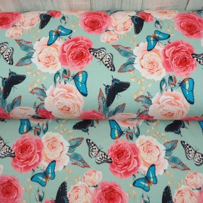 Sweat Schmetterlinge und Rosen auf hellblau, Stoff Meterware