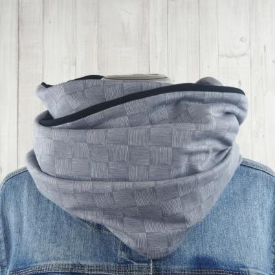 Loop Schal grau schwarz gemustert mit