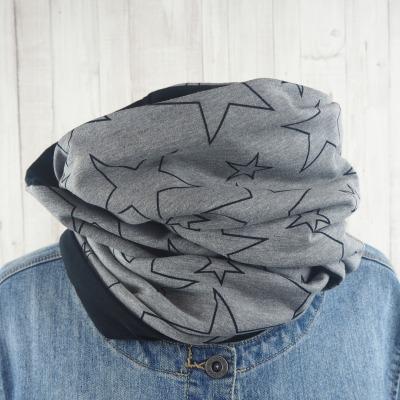 Loop Schal grau schwarz Sterne Loopschal