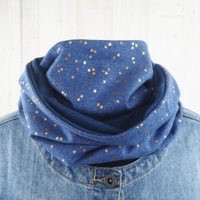 Loop Damen jeansblau mit goldfarbenen Sternen