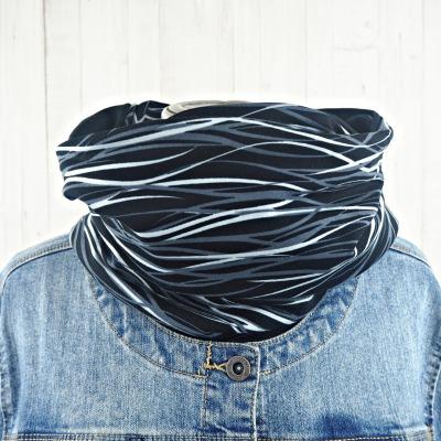 Loop Schal schwarz und grau gemustert