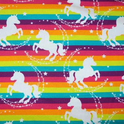 Jersey Einhorn Regenbogen 15,96 EUR/m, Jersey gestreift mit Einhörnern, Stoff Meterware Swafing
