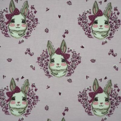 Jersey Hasen - Jersey in flieder, bedruckt mit zauberhaften Hasenmädchen, kleinen Herzen und Blumen - Stoff Meterware Aktiv