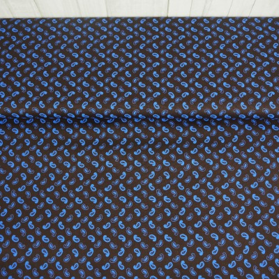 Baumwolle Paisley braun blau Webware Stoff