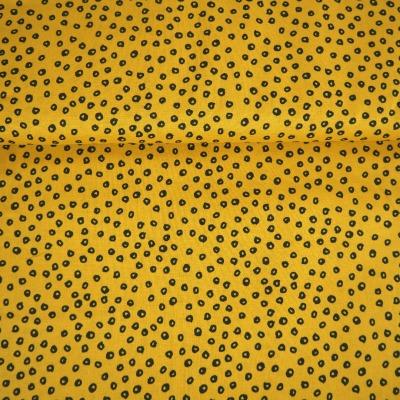 Patchworkstoff Baumwolle Leomuster senfgelb schwarz Patchwork
