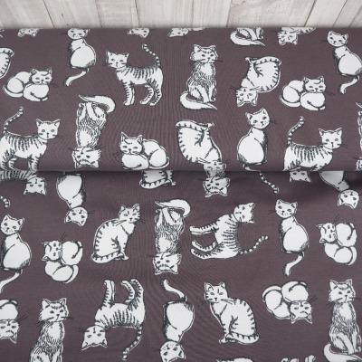 Jersey grau Katzen Organic Cotton Baumwolle