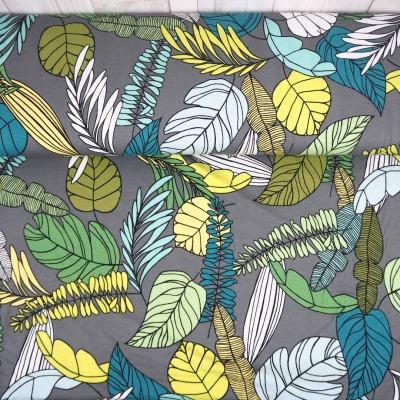 Viskosejersey grau mit großen Blättern Damenstoff