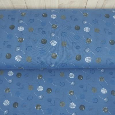 Jersey Pusteblumen 14,40 EUR/m blau blaugrau taubenblau - Stoff Meterware Damen