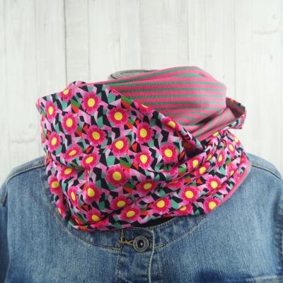 Loop Schal Loopschal Damen Ringel pink
