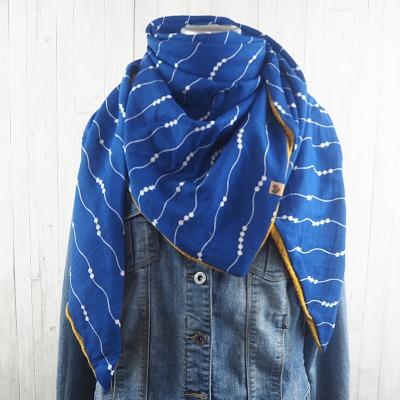 Tuch Dreieckstuch Musselin Damen, Schal blau - weiß gemustert und senfgelb, XXL Tuch aus Baumwolle - Versandkostenfreier Artikel