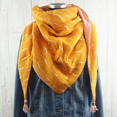 Tuch Dreieckstuch Musselin Damen, Schal gelb - weiß gemustert und rosa, XXL Tuch aus Baumwolle, Mamatuch mit Tasseln / Quasten - Versandkostenfreier Artikel
