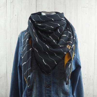 Tuch Dreieckstuch Musselin Damen, Schal grau - weiß gemustert und senfgelb, XXL Tuch aus Baumwolle Aktiv - Versandkostenfreier Artikel