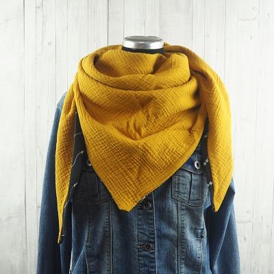 Tuch Dreieckstuch Musselin Damen, Schal senfgelb / gelb / curry, XXL Tuch aus Baumwolle, Mamatuch - Versandkostenfreier Artikel