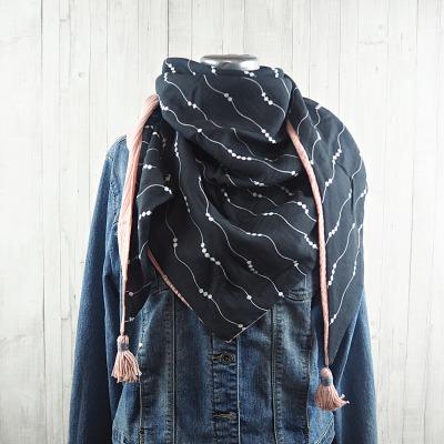 Tuch Dreieckstuch Musselin Damen, Schal grau - weiß gemustert und rosa, XXL Tuch aus Baumwolle, Mamatuch mit Tasseln / Quasten - Versandkostenfreier Artikel
