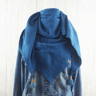 Tuch Dreieckstuch Musselin Damen, Schal jeansblau / taubenblau, XXL Tuch aus Baumwolle, Mamatuch mit Tasseln / Quasten - Versandkostenfreier Artikel