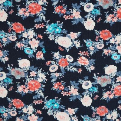 Musselin blau mit Blumen Double Gauze