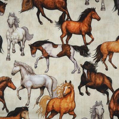 Baumwolle Pferde auf beige meliert Stoff
