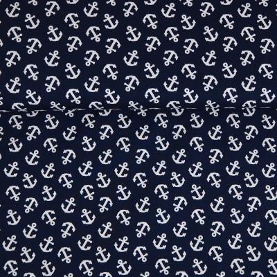 Baumwolle mit Ankern - dunkelblau