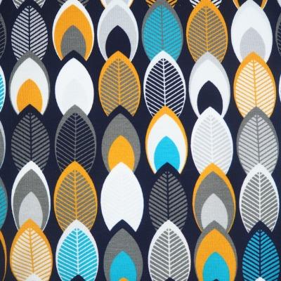 Jersey Blätter dunkelblau senf grau türkis