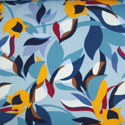 Damenjersey blau senf bordeaux abstraktes Blumenmuster