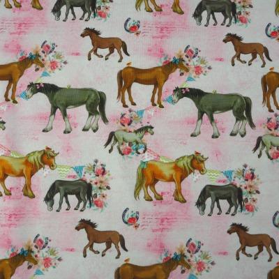 Jersey Pferde rosa Pferdejersey Stoff Meterware