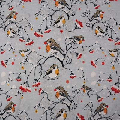 Jersey Rotkehlchen im Schnee Wintervögel Stoff