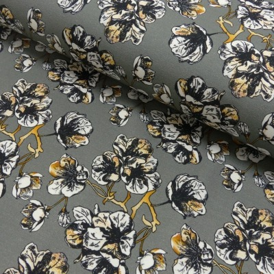 Sommersweat Blumen grau senf Flower Love