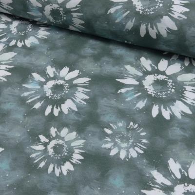 Jersey EUR/m Batik Blumen Druck khaki
