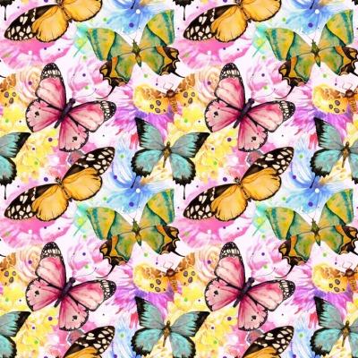 Jersey EUR/m bunte Schmetterlinge und Blumen