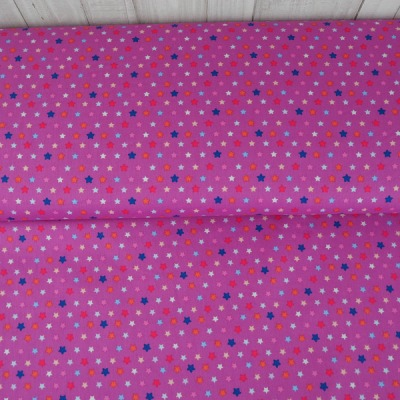 Baumwolle Popeline pink Sterne bunt
