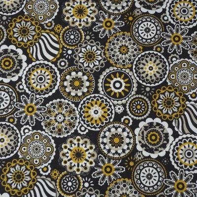 Baumwolle Kreise Punkte Blumen schwarz retro