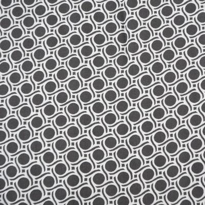 Viskosestoff Viskose grau weiß Blusenstoff Kreise
