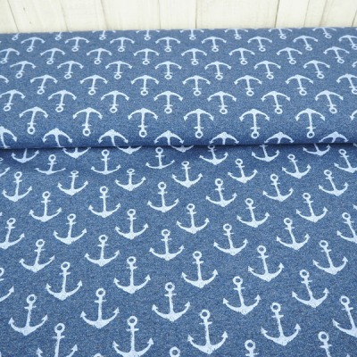 Sommersweat jeansblau Anker French Terry maritim