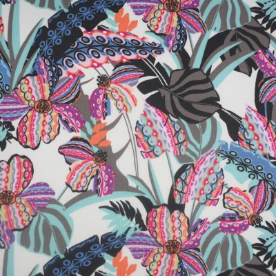 Sommersweat French Terry Druck Monstera Blumen