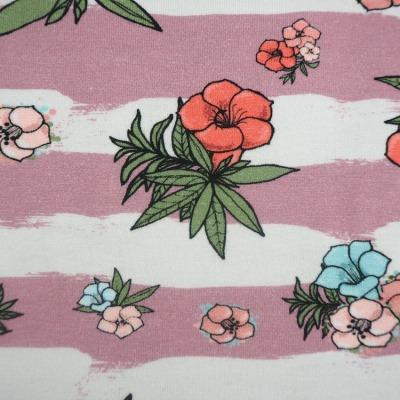 Jersey Streifen Blumen Hibiskus altrosa weiß