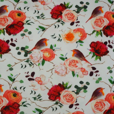 Jersey weiß Rosen Rotkehlchen Digitaldruck