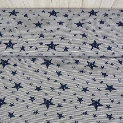 Jersey blau weiss Sterne Ringel Streifen