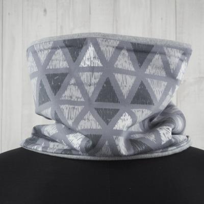 Schlupfschal Loop grau Vintagedruck Dreiecke Versandkostenfreier