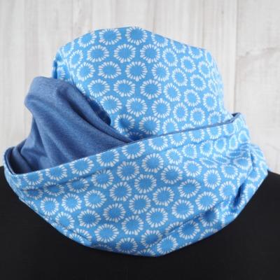Loop Schal hellblau Kreise Kringel jeansblau
