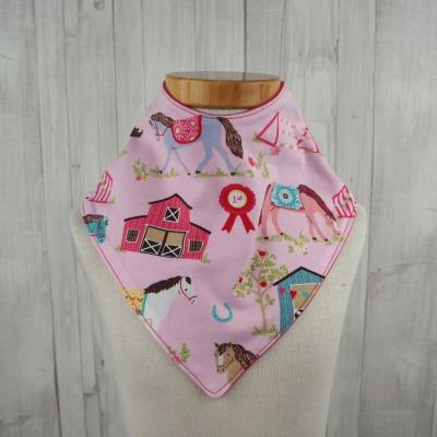 Halstuch Dreieckstuch Maedchen Pferde rosa pink - Versandkostenfreier Artikel