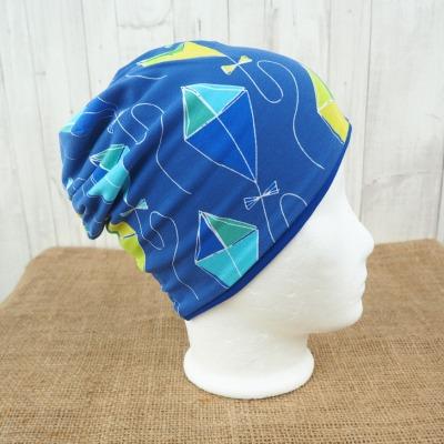 Beanie Mütze Drachen Strand blau Jersey