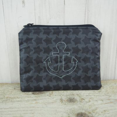 Reißverschlusstasche Sterne Anker maritim schwarz Versandkostenfreier