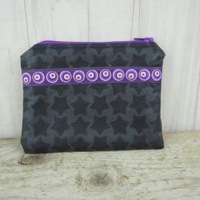 Kleine Reißverschlusstasche Sterne grau lila Versandkostenfreier