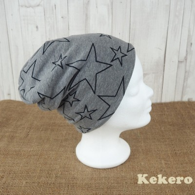 Wendebeanie Beanie Mütze Sterne grau türkis