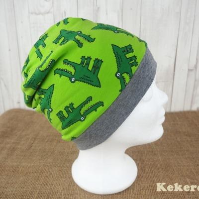 Wendebeanie Beanie Mütze Krokodile grün Versandkostenfreier