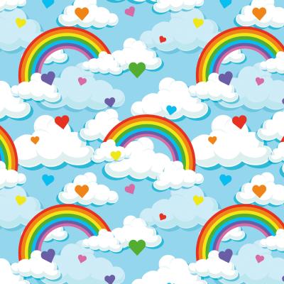 Jersey EUR/m Regenbogen und Herzen auf